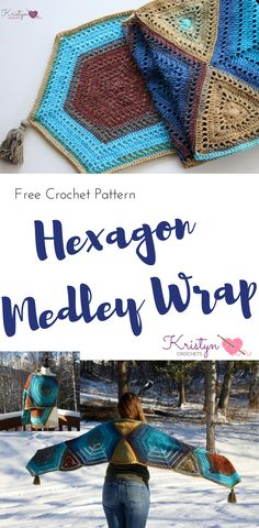 The Hexagon Medley wrap is a free crochet pattern with a medley of hexagons, triangles, mandala yarn, and filet mesh, this is easy to make and 2 skeins is all it takes.
