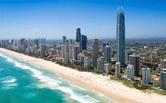 Lataa kuva Ranta, ocean, Queensland, Australia, Tyynellämerellä, pilvenpiirtäjiä