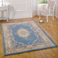 French design rug Aubusson classic blue under £39 | Land of Rugs