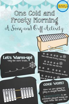 A song and Orff activity to teach about simple borduns using One Cold and Frosty Morning.