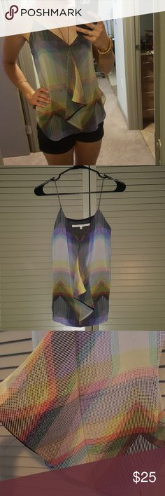 Rachel Roy dressy tank with silver metal straps Rachel Roy multicolored dressy tank. Layered look in the front, shorter crop in back. Straps are metal. Really cute tank for all occassions! Absolutely love this top but it is too large for me. Colors really pop in the light! Thin top with thin black lining. Brand new, never worn. Sorry no tags. RACHEL Rachel Roy Tops Tank Tops