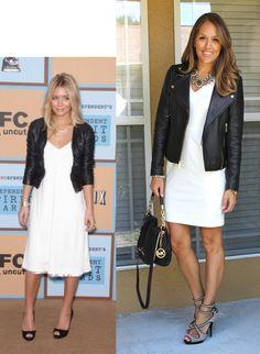 white dress, leather jacket, statement necklace, heels   jseverdayfashion