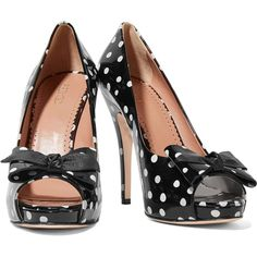 REDValentino - Polka-dot Patent-leather Pumps (440 BAM) ❤ liked on Polyvore featuring shoes, pumps, high heel pumps, high heeled footwear, patent leather peep toe pumps, bow pumps and black white polka dot pumps