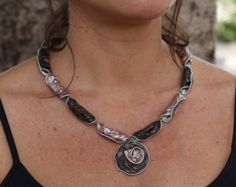Upcycled necklace made of Nespresso coffee capsules, recycled, ecofriendly.