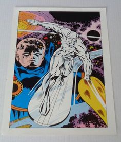Rare vintage original 1970's Marvel Comics Silver Surfer Fantastic Four 72 cover art poster pin-up with artwork by Jack Kirby: Marvelmania. See 1000's more rare vintage original Marvel and DC Comics posters and Official colorist's color guide art pages (used in the direct production of the actual Marvel and DC comic books), at SUPERVATOR.COM and at SUPERVATORCOMICPOSTERSANDART.COM