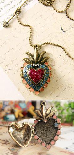 Item #6073 $9.95  Heart & Arrow Bronze Locket Necklace  http://www.mypinupcreations.com/necklaces.html