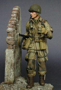 Superb model of a 506th Parachute Infantry Regiment soldier from the 101st airborne Division in Normandy in World War Two. He holds our famous 'Airborne Cricket' in his left hand for signalling purposes! Courtesy of Jacek Spychalski via Facebook.   www.airborne-cricket.com