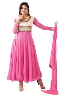 The beauty of your wardrobe is incomplete without a beautifull anarkali suit in pink. This is a three peice suit.