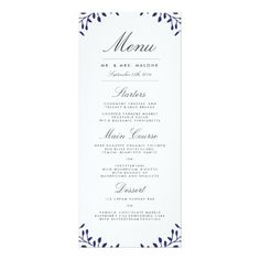 Floral Wedding Menu Secret Garden Wedding Dinner Menu - Navy Card