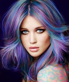 Women's HairCut Long w/ A lot of Layers  Women's HairColor Multidimensional Colors of Dark Lavender/Periwinkle/Light Blue  Women's HairStyle Voluminous w/ a Kick/Flip