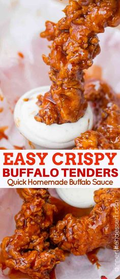 Buffalo Chicken Tenders made with a classic buttermilk soaked extra crispy chick. Buffalo Chicken Tenders made with a classic buttermilk soaked extra crispy chicken tender dredged in homemade buffalo sauce. Buffalo Chicken Tenders, Crispy Chicken Tenders, Buffalo Chicken Recipes, Chicken Tender Recipes, Fried Chicken Recipes, Buttermilk Chicken Tenders, Buffalo Sauce Recipes, Recipes With Chicken Tenders, Buffalo Chicken Sauce