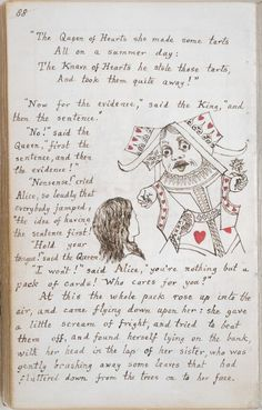 Alice in Wonderland Original Manuscript The original manuscript of Lewis Carroll, the pen-name of Charles Dodgson, is one of the British Library's best - loved treasures. Lewis Carroll, John Tenniel, Alice In Wonderland Illustrations, Book Illustrations, Alice Liddell, Adventures In Wonderland, British Library, Through The Looking Glass, Handwriting