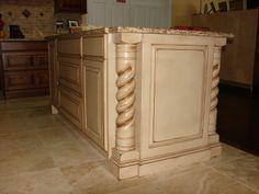 Beautifully #distressed #island with granite countertop. Custom built by Dixon Custom Cabinetry in Kernersville, NC.