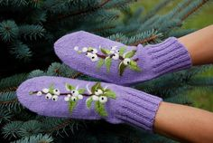 Violet Knitted Wool Mittens with berries by MySunsetColor on Etsy, $39.50