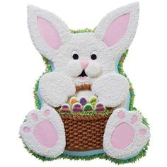 All Eggs in One Basket Cake - Put All Eggs in One Basket and serve this cake for Easter. A variation for the Huggable Teddy Bear pan, this Easter Bunny is all cake, with cookies for his ears and paws.