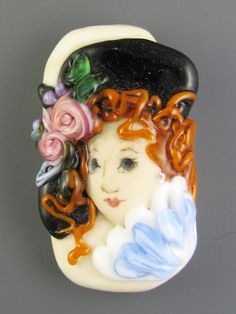 Lampwork Lady Portrait  Fantine by judeldeebeads on Etsy