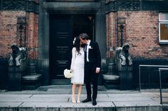 This classic affair: 29 City Hall Weddings That Prove Less Is Wedding Photography Inspiration, Wedding Inspiration, Wedding Ideas, Photography Tips, Garden City Beach, Courthouse Wedding Dress, Civil Wedding, Civil Ceremony Wedding Dress, Stylish Couple