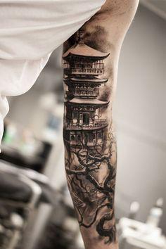 ▷ 1001 traditional tattoo ideas + information about their history and symbol . - ▷ 1001 traditional tattoo ideas + information about their history and symbolism ch - Chinese Sleeve Tattoos, Samurai Tattoo Sleeve, Full Sleeve Tattoos, Tattoo Sleeve Designs, Geisha Tattoo Sleeve, Unique Wrist Tattoos, Wrist Tattoos For Guys, Forearm Tattoos, Japanese Temple Tattoo