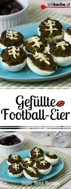 Last Minute Rezept für den Super Bowl gesucht? Diese gefüllten Football-Eier zaubert ihr in Windeseile! Super Bowl Party, Tapenade, Last Minute, Breakfast, Brunch Recipes, Finger Foods, Meal, Cakes, Simple
