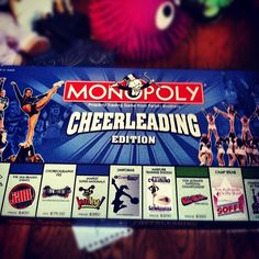 I WANT THIS cheerleader, Monopoly Cheerleading Edition from Kythoni's… Cheer Qoutes, Cheerleading Quotes, Competitive Cheerleading, Cheer Coaches, Cheer Stunts, Team Cheer, All Star Cheer, Cheer Mom, Cheer Workouts