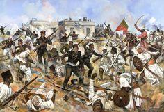 The Sirmoor Battalion(later 2nd Gurkhas) beat back another assault on Hindu Rao's House Delhi Ridge 1857. Painting by Jason Askew