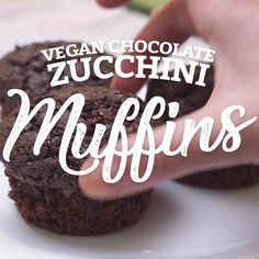 """I have to be honest, I am new to vegan baking and I am never quite sure what to expect when I first make an attempt to """"veganize"""" a baked good. Gluten Free Zucchini Muffins, Vegan Zucchini Recipes, Chocolate Zucchini Muffins, Vegan Recipes Videos, Vegan Gluten Free, Vegan Muffins, Vegan Foods, Vegan Meals, Healthy Desserts"""
