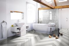 Betonwood Grey and Betonwood White combined and laid in a herringbone pattern to create this stunning bathroom floor. Love the Beton Epoque mix patterned tiles in shower too. Style Tile, Tiles, Bathroom Showrooms, Bathroom Styling, Bathroom Design Inspiration, Tile Suppliers, Encaustic Tile, Bathroom Inspiration, Tile Bathroom