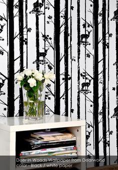 Deer in Woods wallpaper from Dearwood in Black / white paper