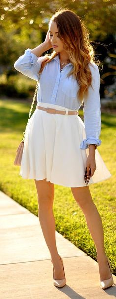 Baby Blue And White Preppy Outfit by Hapa Time