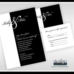 Black and White Wedding Invitations! Custom designs and more affordable then DYI websites. FB/SLMDesignSolutions