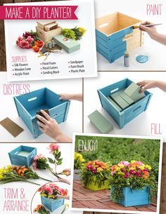 In four easy steps you can make Mom a beautiful planter to use all season long! Outdoor Projects, Craft Projects, Projects To Try, Large Backyard, Floral Foam, Diy Planters, Outdoor Planters, Planter Boxes, Fake Flowers
