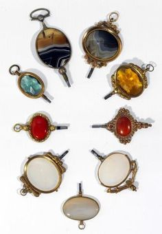 19th Century English and Continental Agate and Glass Watch Keys.
