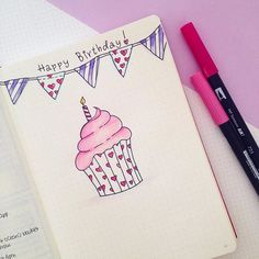 Happy Birthday to me! I'm creating my birthday spread in my bullet journal. I'm planning to add at the bottom all the beautiful memories from this day. Love how the cupcake turned out! Bullet Journal 17, Birthday Bullet Journal, Bullet Journal Junkies, Happy Birthday Drawings, Birthday Card Drawing, Happy Birthday Me, Happy Birthday Doodles, Birthday Letters, Birthday Cards