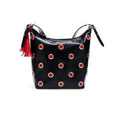 Rectangular Leather Bag With Contrast Polka Dot Details ($268) ❤ liked on Polyvore