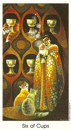 The Six of Cups can also point to your inner child and suggests a need to experience child-like joy. When we are being playful, spontaneous, creative, intuitive and surrendering to the spiritual self, our genuine authentic Self, who we know deep within us, our real Self is being welcomed and encouraged to be present. {Tarot of the Cat People}