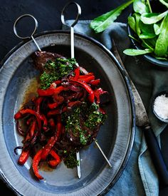 Australian Gourmet Traveller recipe for picanha, chimichurri and sweet and sour peppers. Steak Recipes, Gourmet Recipes, Cooking Recipes, Slow Cooking, Chimichurri, Nice To Meat You, Capsicum Recipes, Roasted Almonds, Latin Food