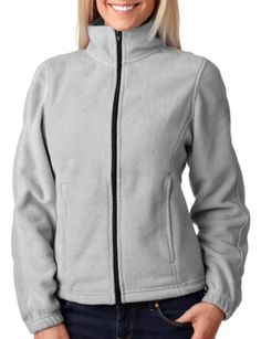 UltraClub® Ladies' Iceberg Fleece Full-Zip Jacket - Grey Heather - M