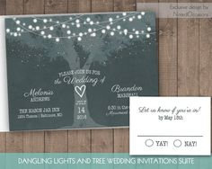 printable wedding invitations tree with twinkle lights