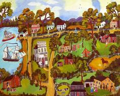 Folk art landscape with tons of detail by artist sharon eyres