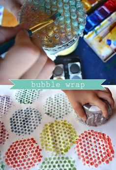 Bubble Wrap Printing for those who have kids who love craft. Okay, so I don't have kids but I love, love bubble wrap. Kids Crafts, Projects For Kids, Diy For Kids, Arts And Crafts, Creative Crafts, Toddler Art, Bubble Wrap, Art Plastique, Teaching Art