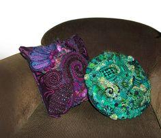 Freeform crochet cushion covers by renatekirkpatrick, via Flickr