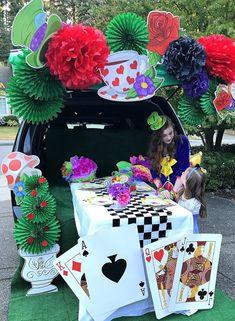 Kid Friendly Trunk or Treat Ideas for Cars, SUVs, Vans and Trucks Mad Hatter Tea Party Alice in Wonderland. The Best Halloween Trunk or Treat Ideas Theme trucks cars suvs and vans. Easy church Halloween ideas including games and popular Halloween themes Alice In Wonderland Tea Party Birthday, Alice In Wonderland Theme, Wonderland Party, Halloween Alice In Wonderland, Alice In Wonderland Characters, Halloween Car Decorations, Halloween Themes, Halloween Crafts, Halloween Stuff