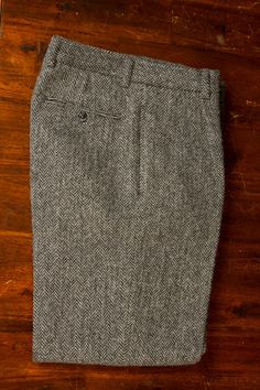 Trousers Harris Tweed Tailored Straight Pockets Turnup Fully Lined Scotland Vintage-1
