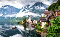 The Queen of Salts: Hallstatt European In Upper Austria Salzkammergut located in Hallstatt The village is a small fairy-tale village that quietly welcomes you in the foothills of the Alps. Austria One of the oldest settle. Wall Decor Pictures, Home Pictures, Landscape Pictures, Landscape Paintings, Scenery Paintings, Acrylic Painting Canvas, Diy Painting, Canvas Art, Visa Schengen