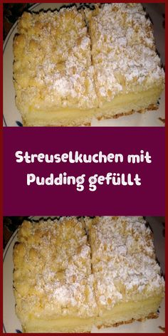 Crumble cake filled with pudding - ingredients for shortbread biscuits 250 g . - Crumble cake filled with pudding – ingredients for the shortcrust pastry 250 g … – Crumb cake - Desserts Français, Desserts For A Crowd, French Desserts, Dessert Recipes, French Recipes, Dessert Simple, Pudding Ingredients, Shortbread Biscuits, Puff Recipe