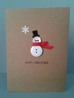 Handmade Button Snowman Card Personalised Mum Dad by GurdGifts, £2.80