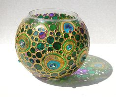 Peacock feather Painted Sphere Glass Vase Candle by ArtMasha
