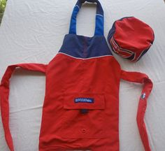 upcycled board shorts in red  with chefs hat