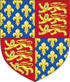 Escudo de Inglaterra (1340-1367): Para marcar su afirmación sobre la corona francesa, Eduardo III en cuartos los tres leones de Inglaterra con la flores de lis de Francia en sus armas reales en 1340.
