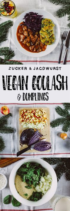 Vegan Goulash with dumplings and red cabbage